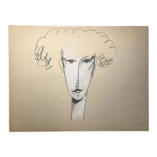 1983 Jack Hooper Portrait Curly Hair Drawing