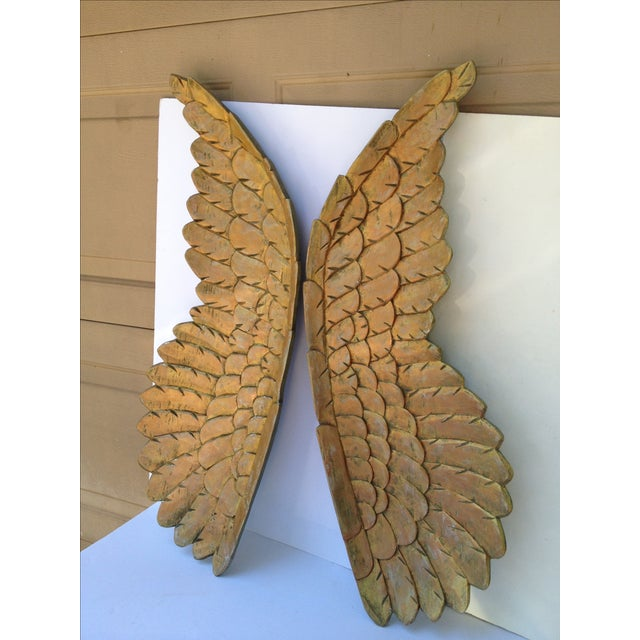 Image of Large Gold Carved Wood Wings - Pair