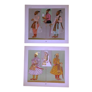 Vintage India Mogul Dynasty Costume Lithographs - A Pair