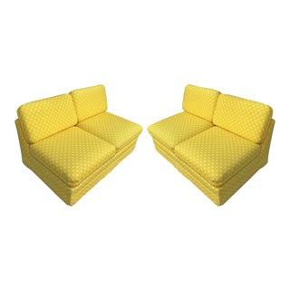 Thayer Coggin Milo Baughman Yellow Slipper Sofas - a Pair