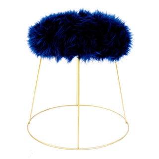 Mid-Century Modern Faux Fur & Metal Footstool