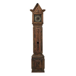 18th Century Wooden Swedish Clock with Linear Profile and Triangular Crest