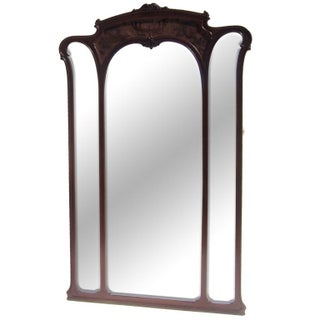 Art Nouveau Carved Standing Full Length Mirror