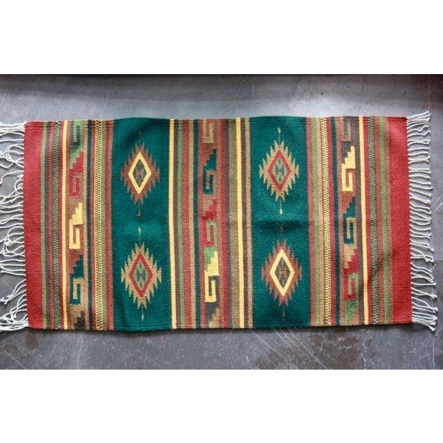 Mexican Pedal-Loom Green Rug - 2′7″ × 4′10″ - Image 2 of 6