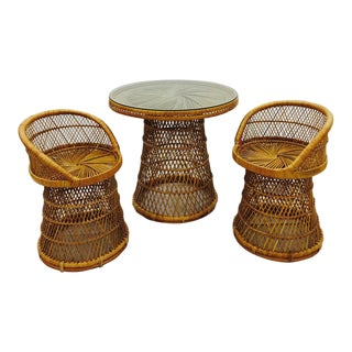 Vintage Woven Wicker Dinette Table & Chairs - Set of 3