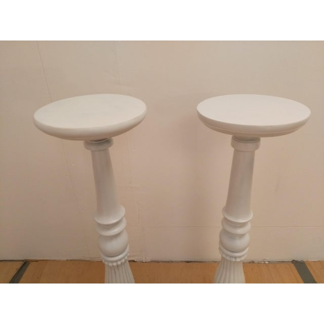 White Wooden Plant Stands - A Pair - Image 4 of 5