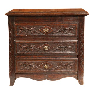 19th Century French Louis XV Carved Oak Miniature Commode