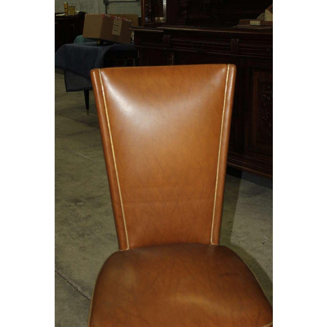 1940s Vintage French Art Deco Walnut Dining Chairs - Set of 6 - Image 4 of 7