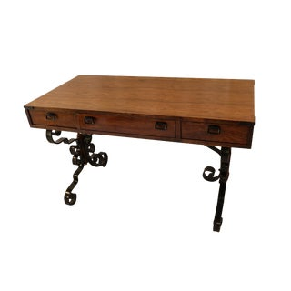 Vintage Fruitwood Iron Desk