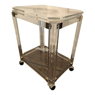 Vintage Lucite and Brass Bar Cart with Swivel Top