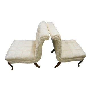 Vintage French Louis XV Style Slipper Chairs - A Pair