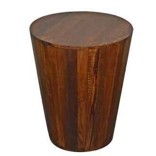 Reclaimed Barrel Stool End Table