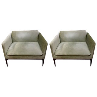 Wooden Frame Upholstered Modern Club Chairs - A Pair