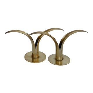 Mid-Century Modern Swedish Brass Candle Holders - A Pair