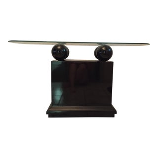 Mid-Century Modern Lacquer & Glass Console Table