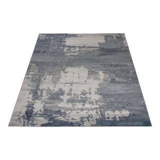 Blue and Ivory Abstract Rug - 5' x 8'