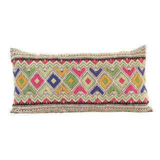 Vintage Laotian Silk Embroidery Pillow