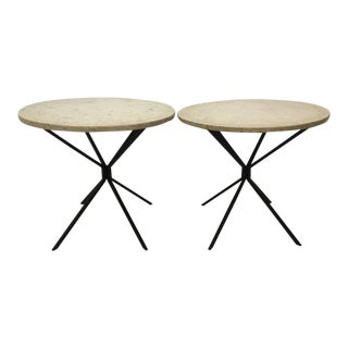 Italian Modern Travertine Top Side Tables - a Pair