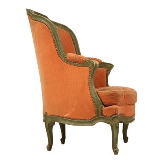 Antique French Louis XV 'Pumpkin' Bergere w/Barrel Back & Mohair