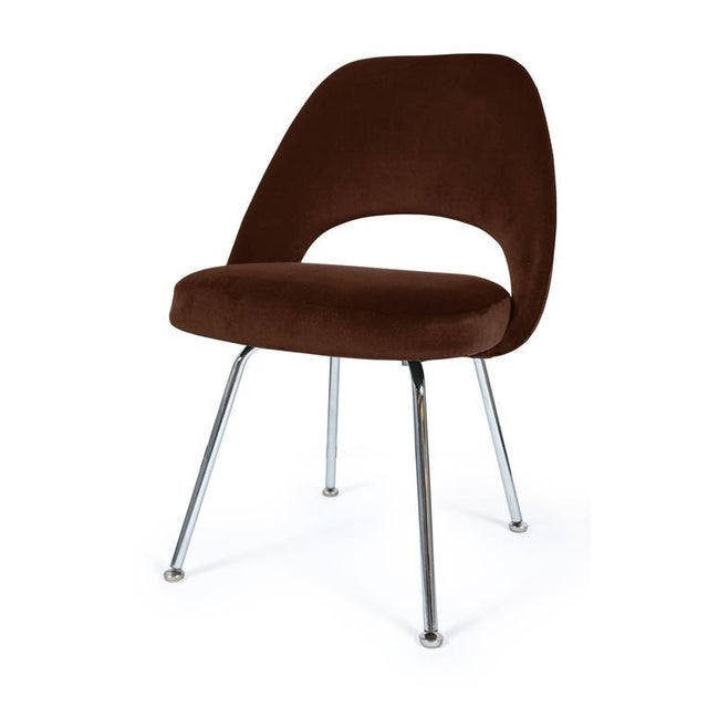 Saarinen Executive Armless Chairs in Espresso Brown Velvet, Set of Six - Image 2 of 4
