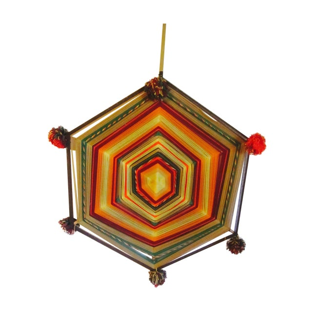 Boho Handwoven Mandala Wool Wall Hanging - Image 1 of 6
