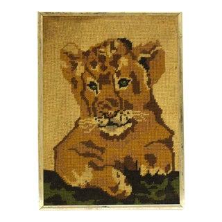 Vintage Fabric Lion Cub Portrait