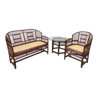 Vintage Brighton Bamboo Wicker Furniture Sofa - Set of 3