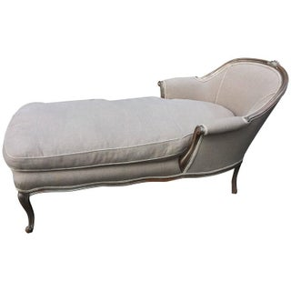 French Silver Giltwood and Linen Chaise