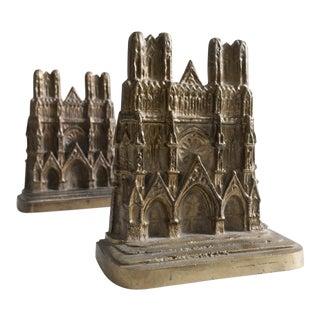 Vintage Notre Dame Paris Bookends - A Pair