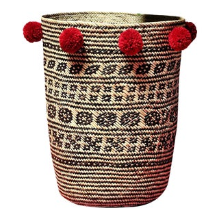 Borneo Drum Tribal Straw Basket with Cranberry Red Pom-poms