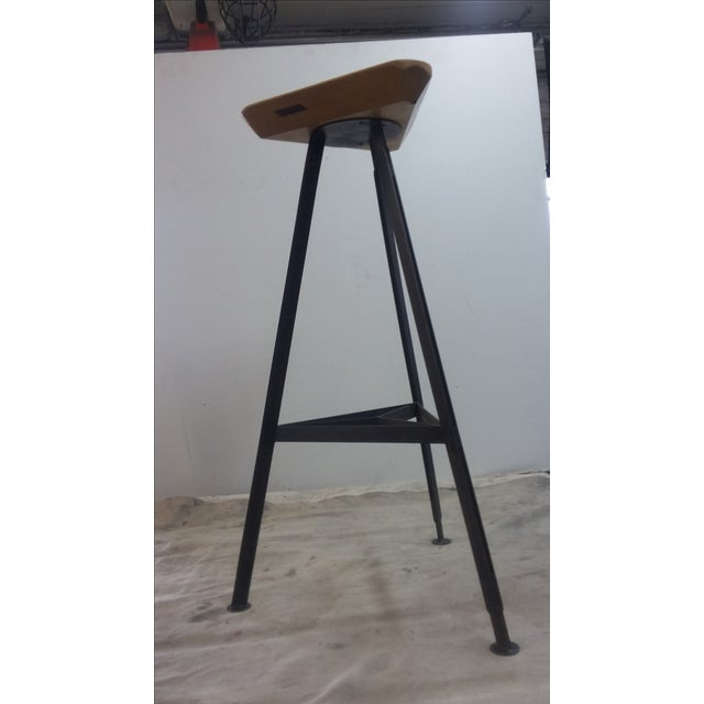 Delta Steel and Pine Stool - Image 6 of 6