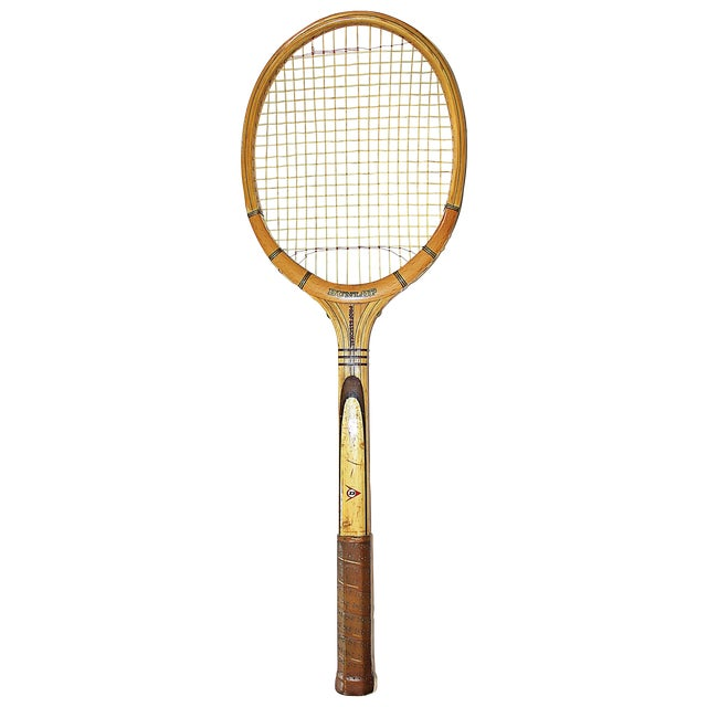 Dunlop Vintage 1960s Wooden Tennis Raquet - Image 1 of 5