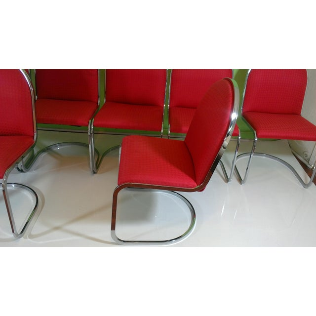 Chrome Red Upholstered Dining Chairs - Set of 8 - Image 7 of 11