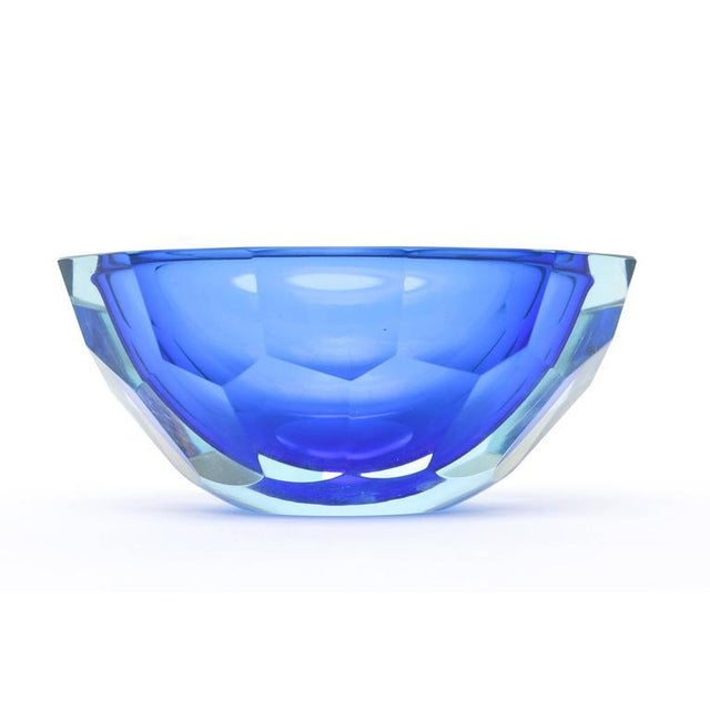 Italian Murano Sommerso Diamond Faceted Flat Cut Polished Glass Geode Bowl - Image 2 of 9