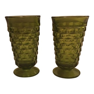 Green Fostoria Drinking Glasses - A Pair