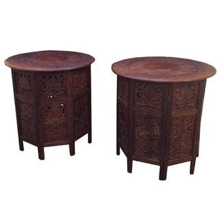 Antique Brazilian Teak Carved Side Tables - A Pair