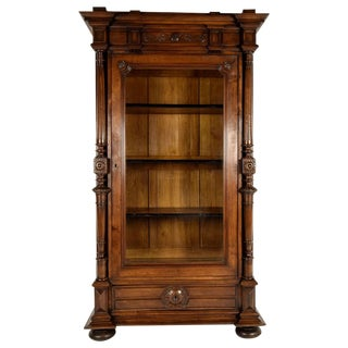 Antique French Single Door Walnut Bookcase