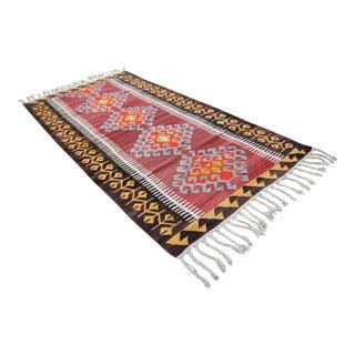 Vintage Turkish Tribal Oushak - 4′2″ × 8′6″