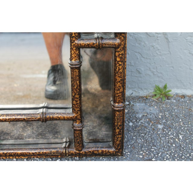 Mid-Century Faux Tortoise Wall Mirror - Image 10 of 11