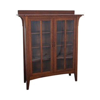 Antique Limbert Mission Oak 2 Door Bookcase