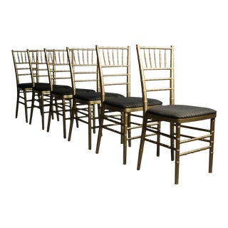 Gold Leaf Set of Faux Bamboo Regency Dining Chairs - 6