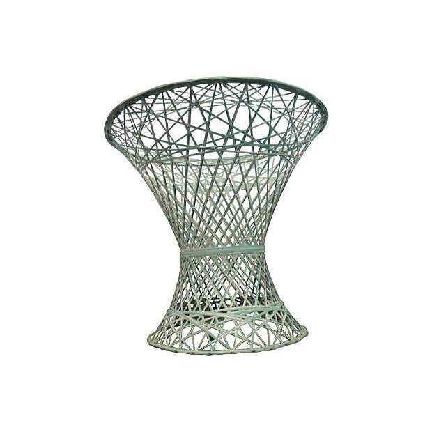 Green and White Spun Fiberglass Table Base - Image 4 of 4