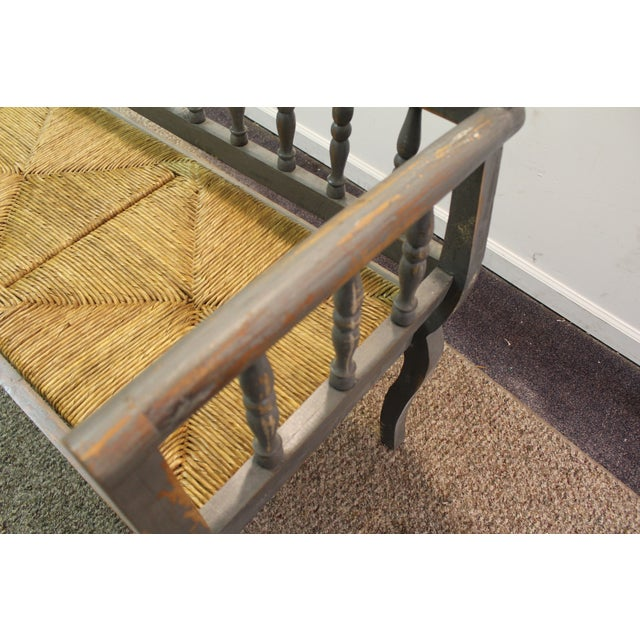 Painted Country French Triple Rush Seat Bench - Image 10 of 11