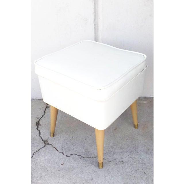 Image of Mid-Century Modern White Leatherette Storage Stool
