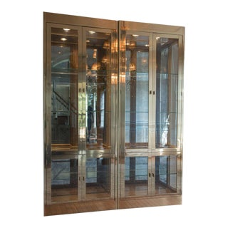 Pair of Stellar Brass & Glass Mastercraft Cabinets