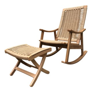 Hans Wegner Style Rocking Chair & Ottoman - A Pair