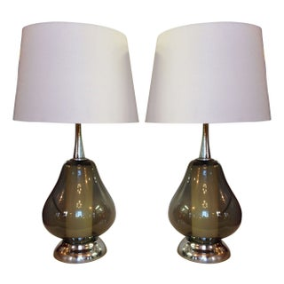 Chrome and Smoked Glass Lamps - A Pair
