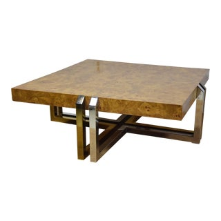 Burl, Brass & Chrome Hollywood Regency Coffee Table
