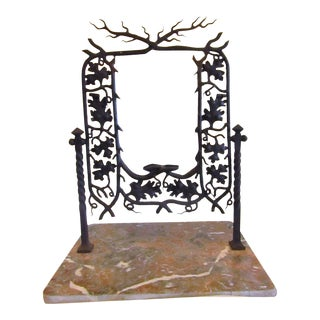 Andirondack Style Iron Framed Swivel Mirror on Marble Base