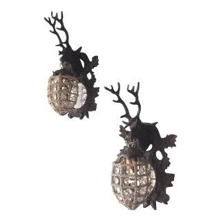 Metal & Crystal Deer Sconces - A Pair